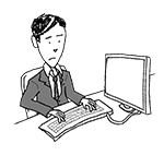Business man at desk (unhappy, typing)