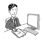 Business man at desk (happy, writing)