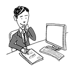 Business man at desk (happy, writing, thinking)