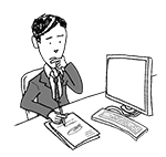 Business man at desk (unhappy, writing, thinking)