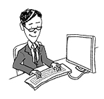 Business man at desk (happy, typing)
