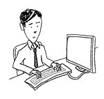 Business man wearing glasses at desk (unhappy, typing)
