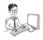 Business man wearing glasses at desk (happy, typing)