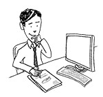 Business man at desk (interested, writing)