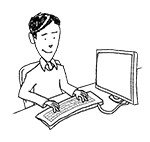 Business casual man at desk (happy, typing)
