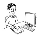 Business casual man wearing glasses at desk (happy, writing)