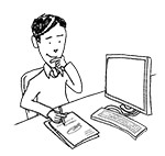 Business casual man at desk (interested, writing)