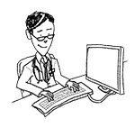 Doctor wearing reading glasses at desk (happy, typing)