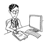 Doctor wearing glasses at desk (unhappy, writing)