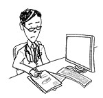 Doctor wearing reading glasses at desk (unhappy, writing)