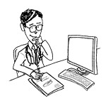 Doctor wearing glasses at desk (interested, writing)