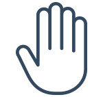Halt hand sign (blue)
