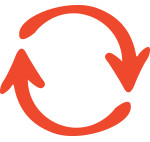 Arrow, circular (orange)