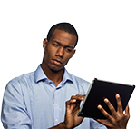 Man using tablet or iPad touching screen
