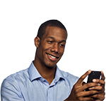 Man happy and looking at phone or texting