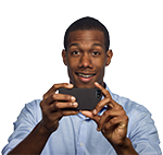 Man happy looking at phone, texting, or taking photo