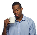 Man crabby or tired and holding coffee cup