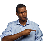 Man not happy pointing to side