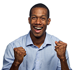 Man super excited, smiling, making fists